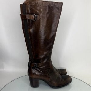 Born Vita Boots in Burnished Cognac Women's 8.5 Brown Knee High Buckle Straps